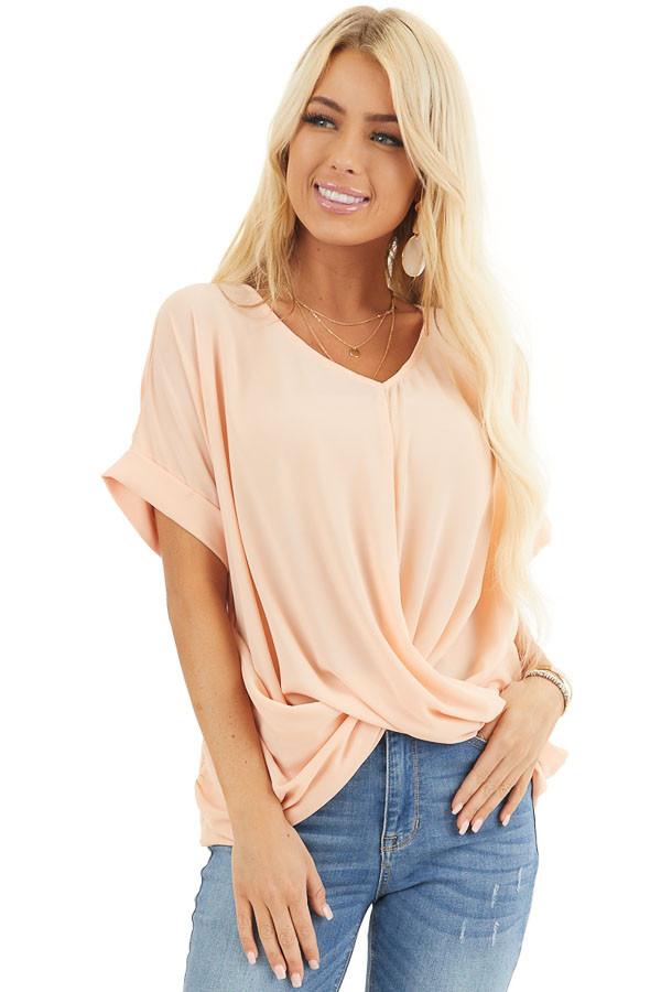 Peach Lightweight Chiffon V Neck Blouse with Twist Detail front close up