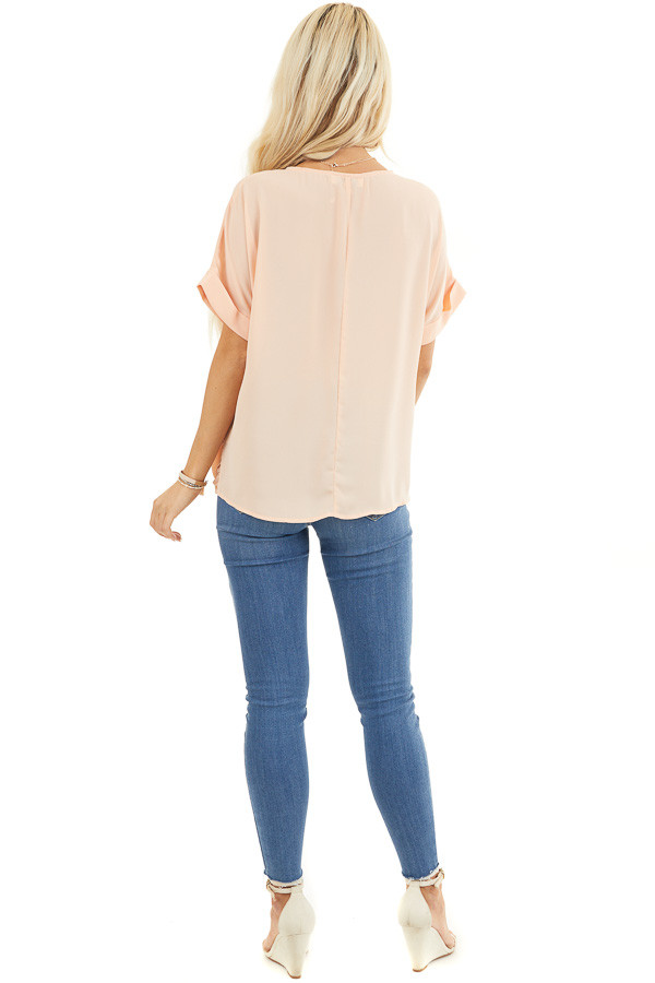 Peach Lightweight Chiffon V Neck Blouse with Twist Detail back full body