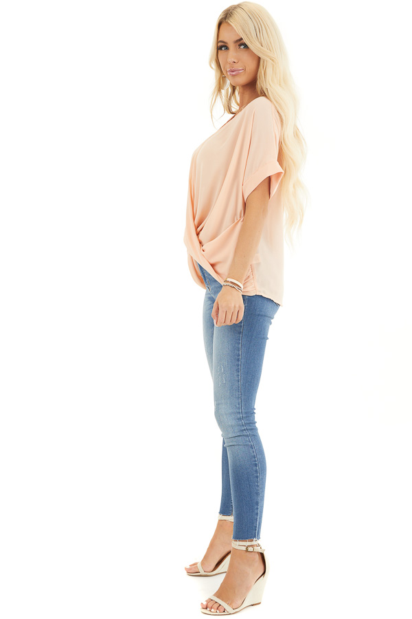 Peach Lightweight Chiffon V Neck Blouse with Twist Detail side full body