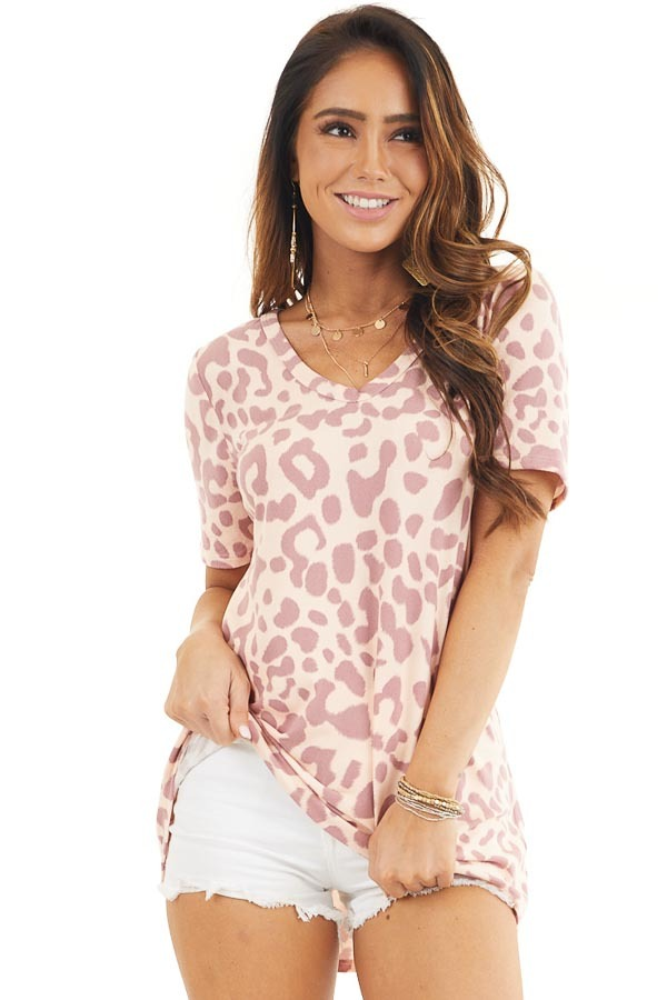 Peach and Mauve Leopard Print Short Sleeve Knit Top front close up
