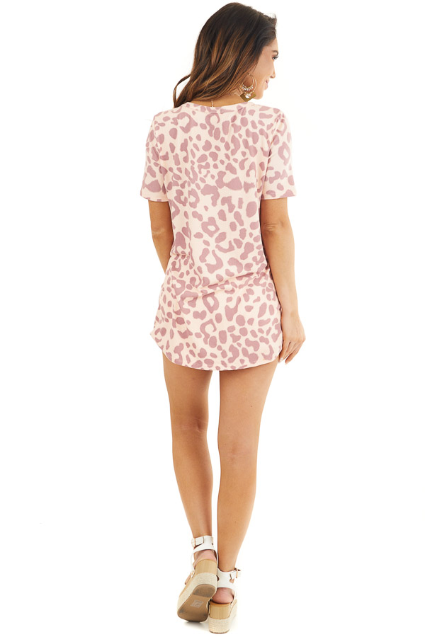 Peach and Mauve Leopard Print Short Sleeve Knit Top back full body
