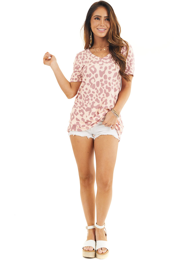 Peach and Mauve Leopard Print Short Sleeve Knit Top front full body