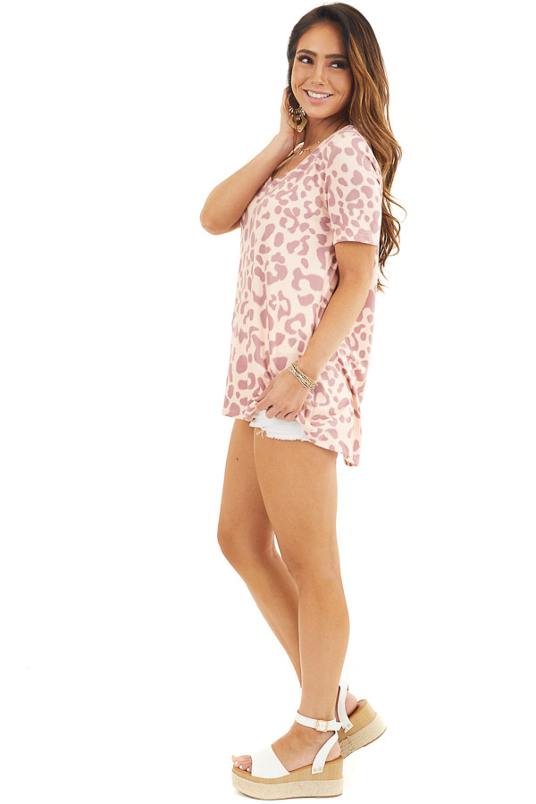 Peach and Mauve Leopard Print Short Sleeve Knit Top side full body