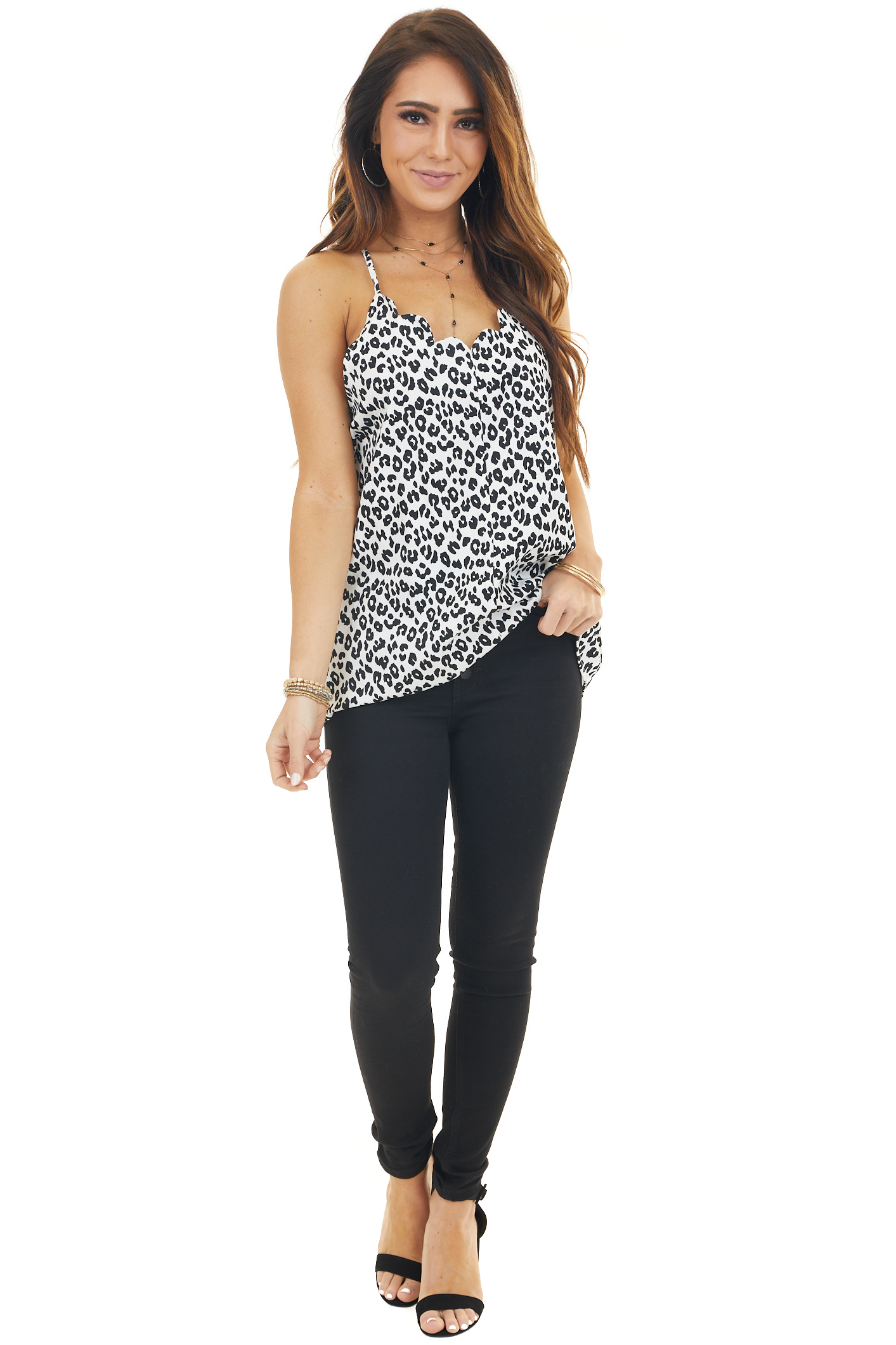 Black and White Sleeveless Woven Top with Scalloped Neckline