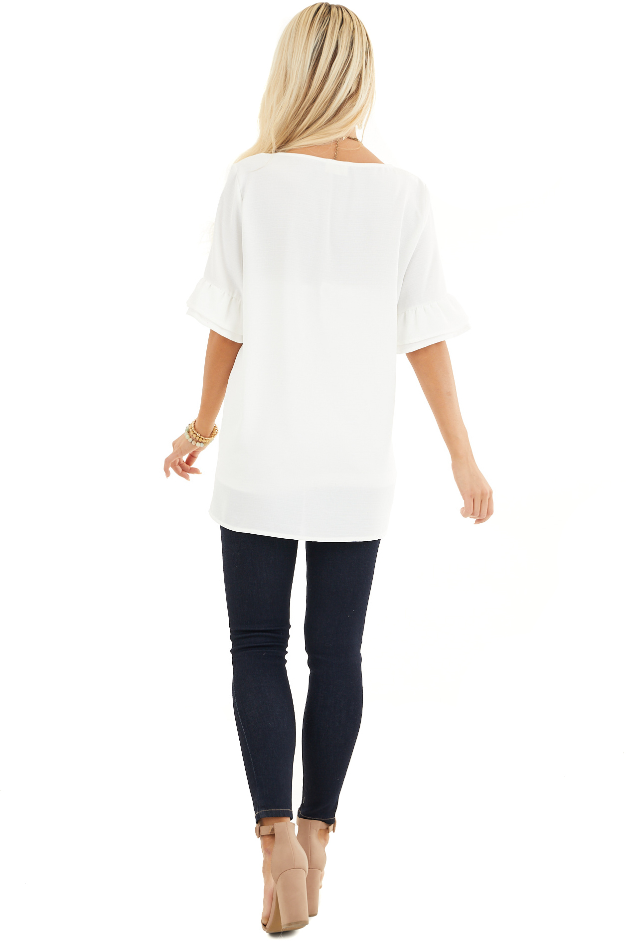 Off White Blouse with Short Ruffled Bell Sleeves back full body