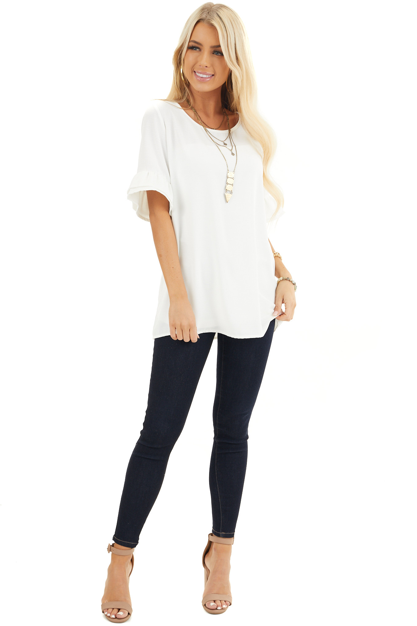 Off White Blouse with Short Ruffled Bell Sleeves front full body
