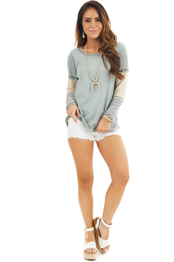 Sage Waffle Knit Top with Long Colorblock Sleeves front full body