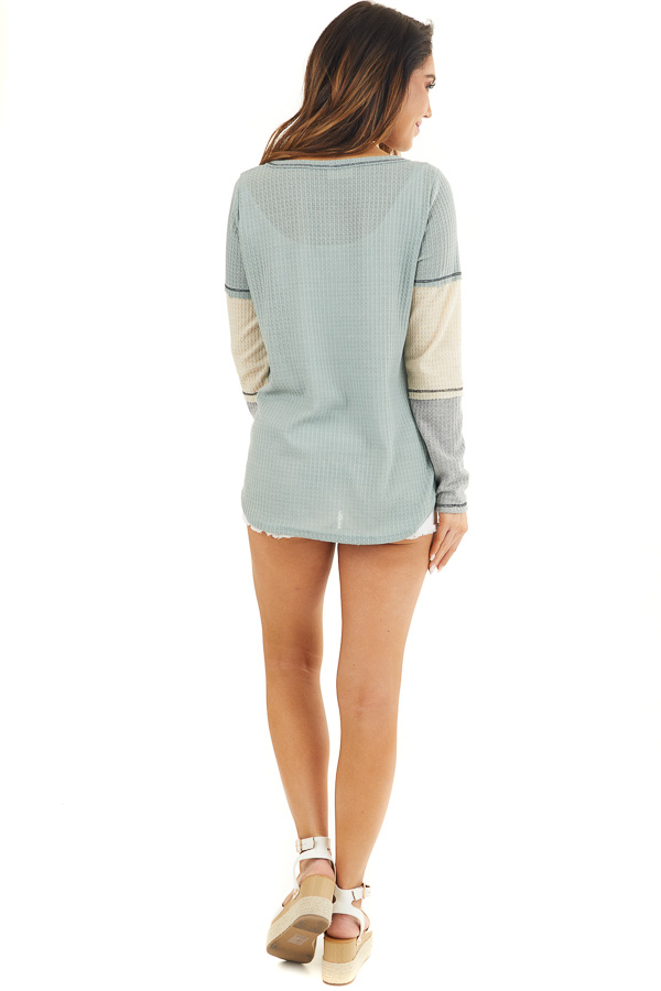 Sage Waffle Knit Top with Long Colorblock Sleeves back full body
