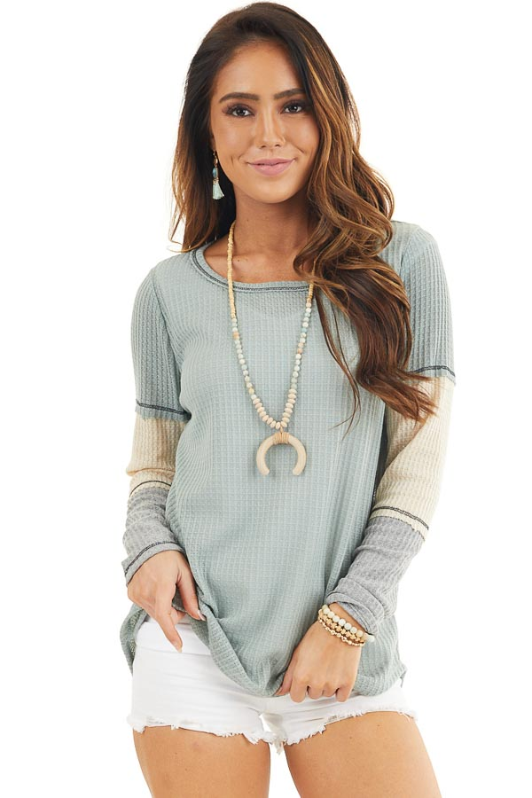 Sage Waffle Knit Top with Long Colorblock Sleeves front close up