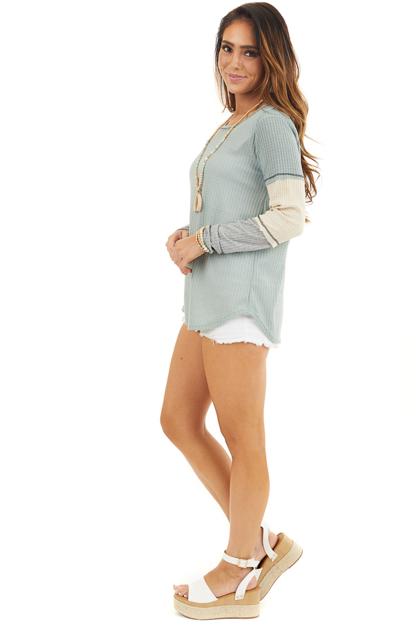 Sage Waffle Knit Top with Long Colorblock Sleeves side full body