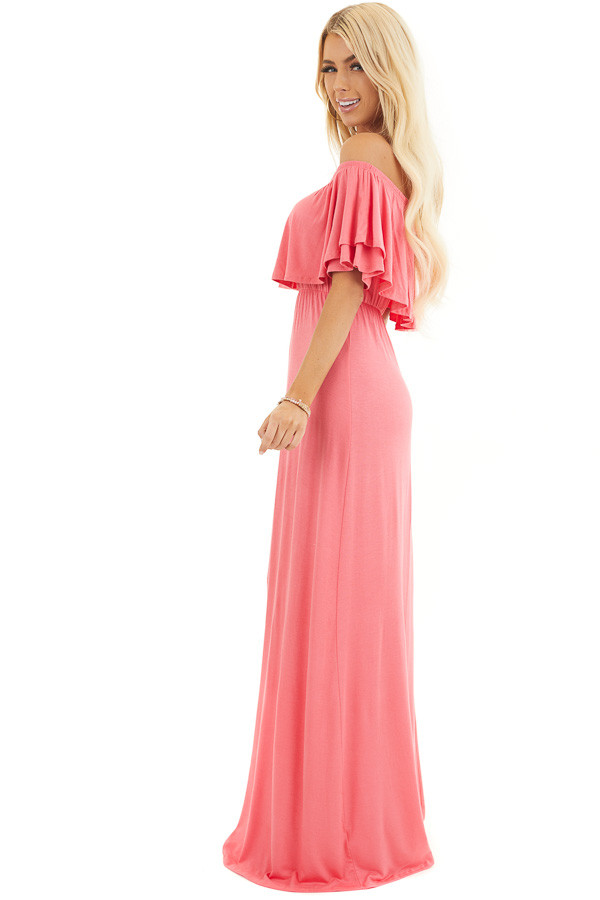 Coral Off the Shoulder Jersey Maxi Dress with Ruffle Detail side full body