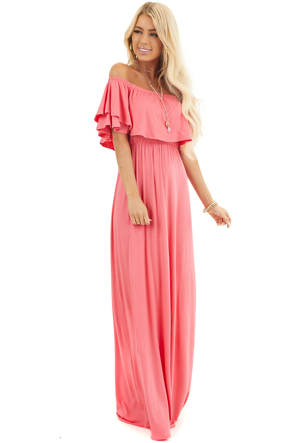 Coral Off the Shoulder Jersey Maxi Dress with Ruffle Detail front full body