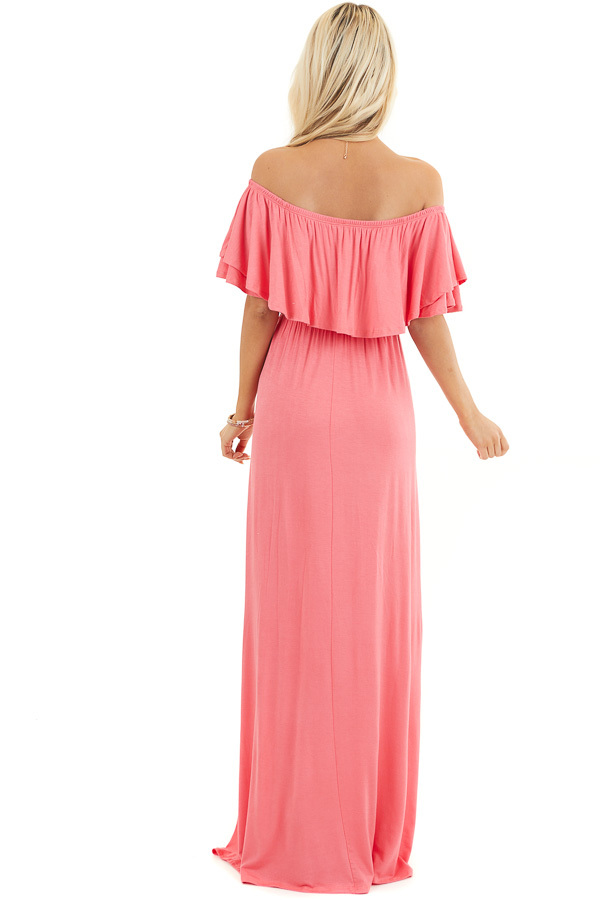 Coral Off the Shoulder Jersey Maxi Dress with Ruffle Detail back full body