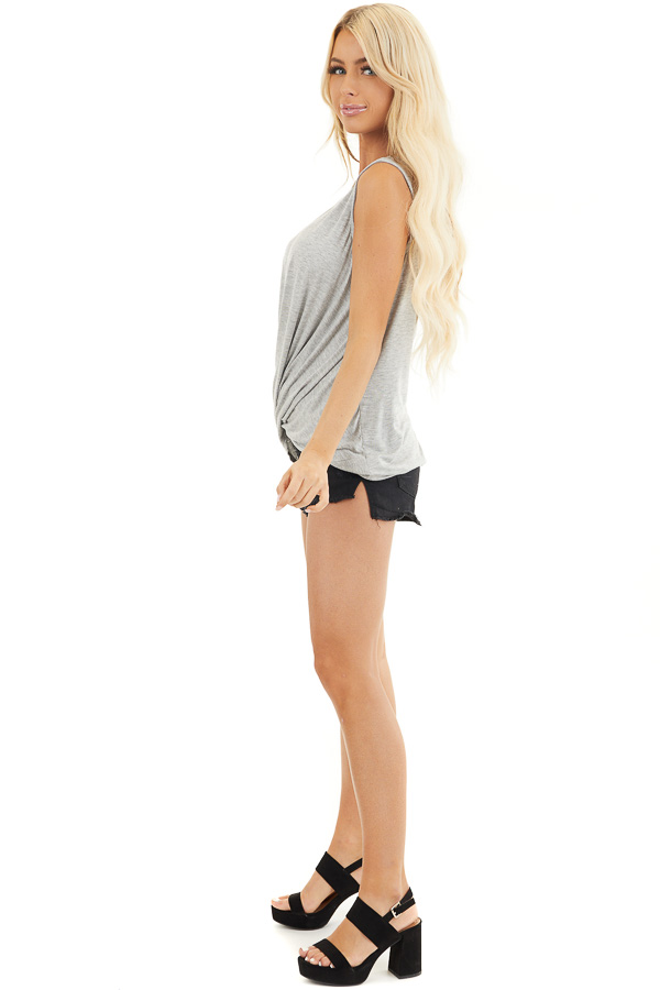 Heather Grey Sleeveless Knit Top with Twisted Front side full body