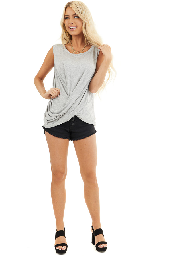 Heather Grey Sleeveless Knit Top with Twisted Front front full body