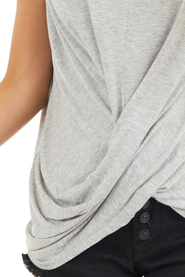 Heather Grey Sleeveless Knit Top with Twisted Front detail