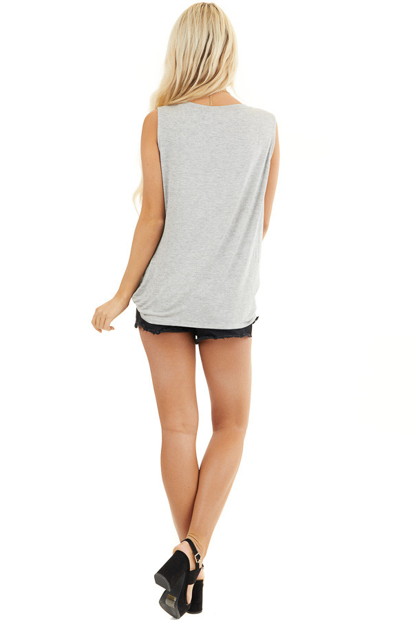 Heather Grey Sleeveless Knit Top with Twisted Front back full body
