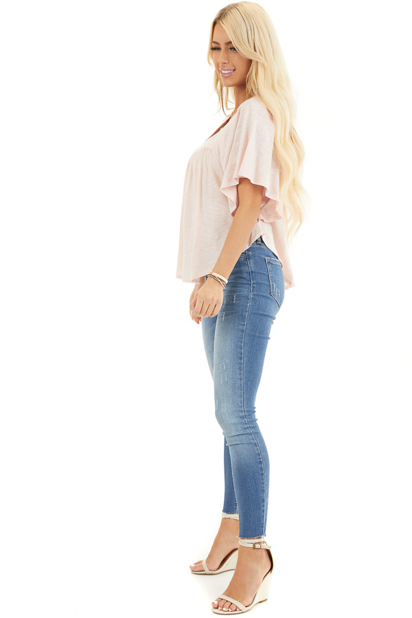 Blush Batwing Short Sleeve Top with Pleated Yoke side full body