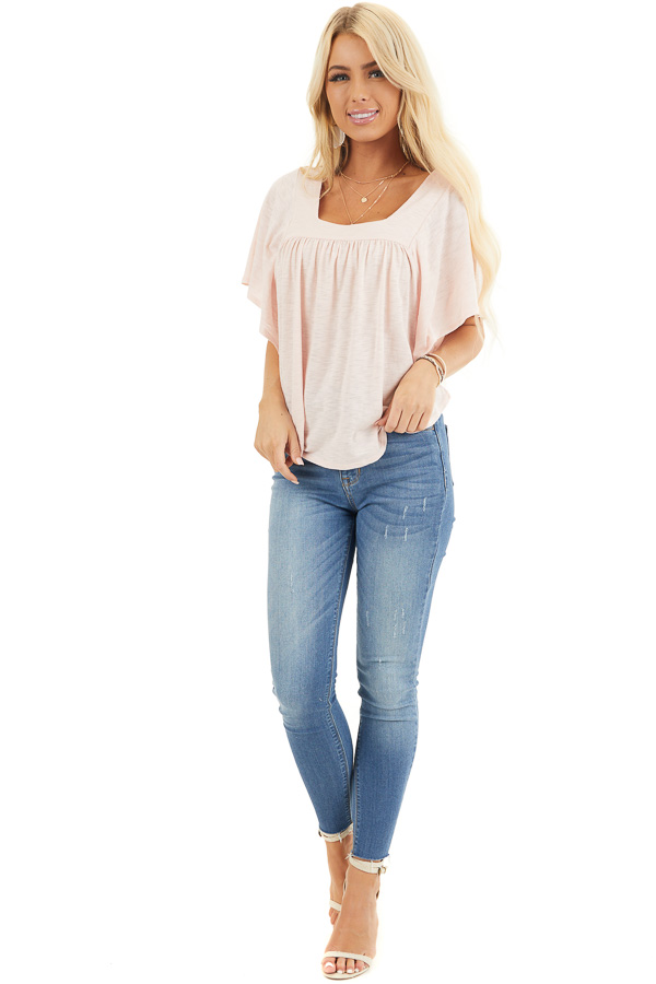 Blush Batwing Short Sleeve Top with Pleated Yoke front full body