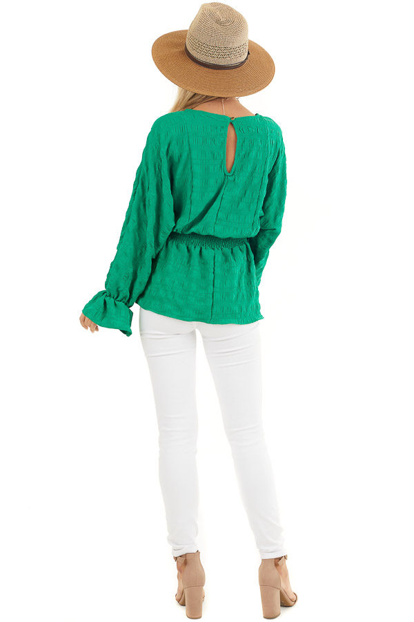 Kelly Green Textured Blouse with Smocked Waistline back full body