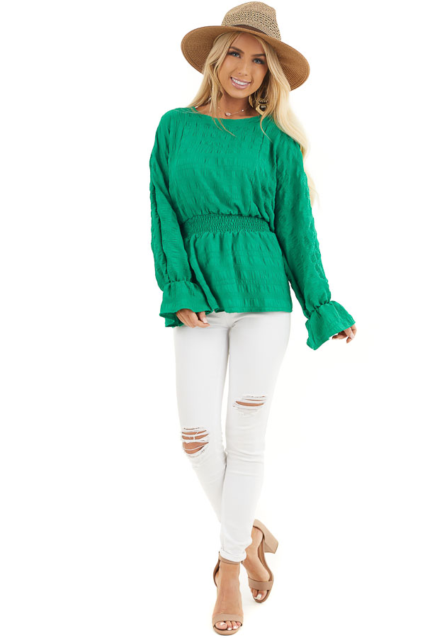 Kelly Green Textured Blouse with Smocked Waistline front full body