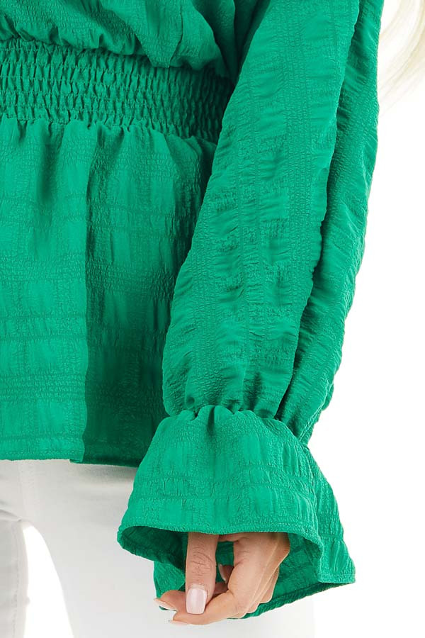 Kelly Green Textured Blouse with Smocked Waistline detail