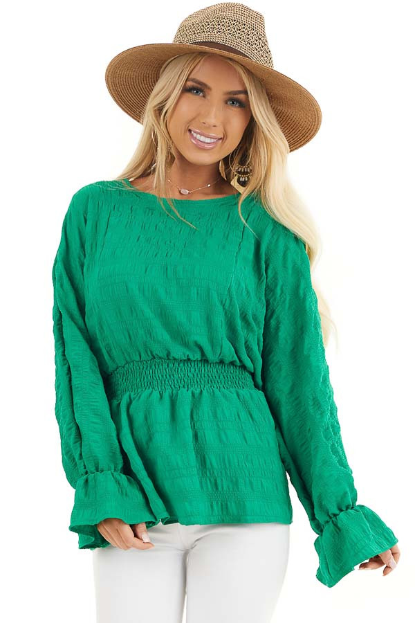 Kelly Green Textured Blouse with Smocked Waistline front close up