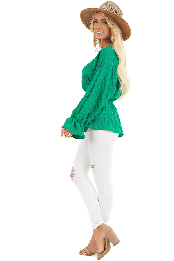 Kelly Green Textured Blouse with Smocked Waistline side full body