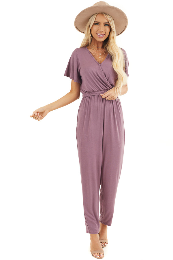 Plum Stretchy Surplice Jumpsuit with Hidden Button Closure front full body