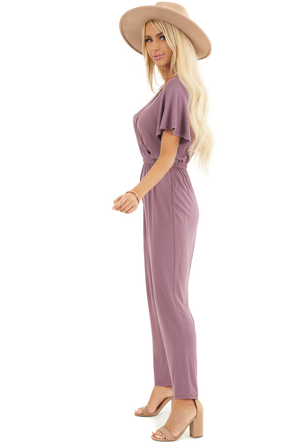 Plum Stretchy Surplice Jumpsuit with Hidden Button Closure side full body