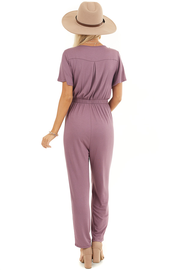 Plum Stretchy Surplice Jumpsuit with Hidden Button Closure back full body