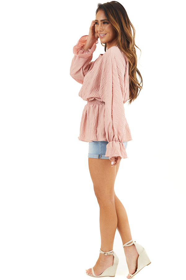 Dusty Blush Textured Blouse with Smocked Waistline side full body