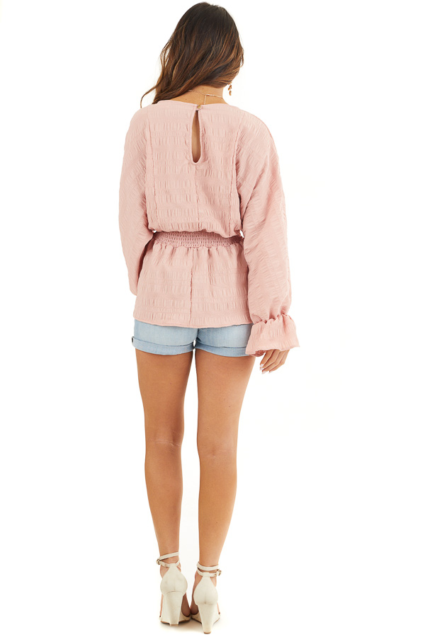 Dusty Blush Textured Blouse with Smocked Waistline back full body