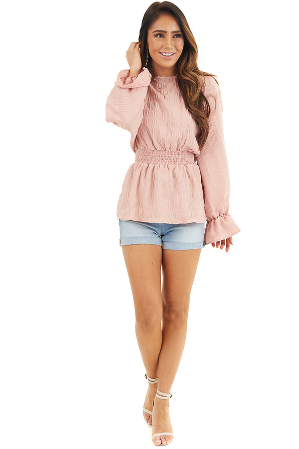Dusty Blush Textured Blouse with Smocked Waistline front full body