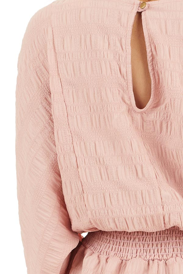 Dusty Blush Textured Blouse with Smocked Waistline detail