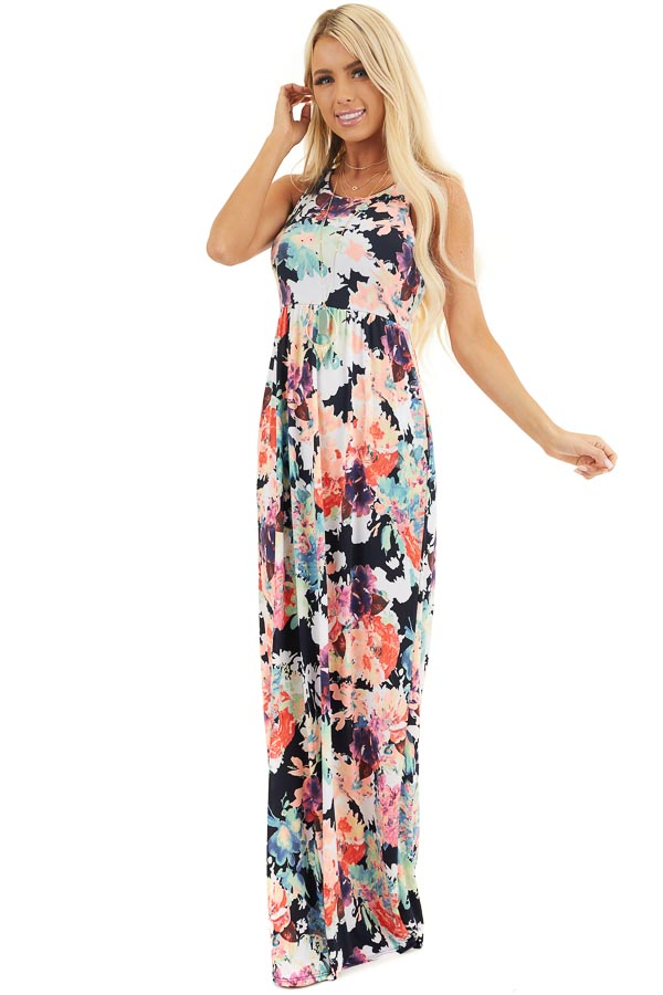 Navy Floral Print Sleeveless Racerback Maxi Dress front full body