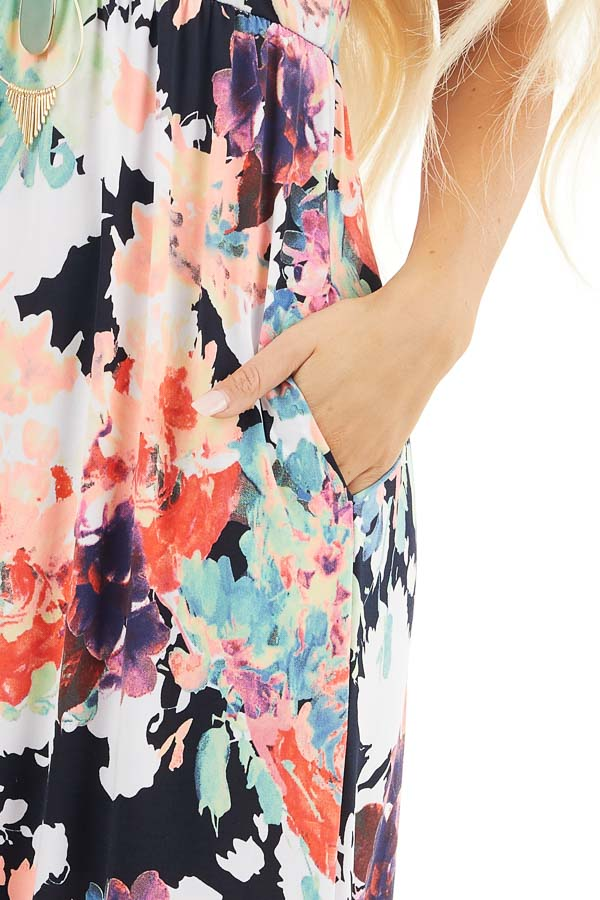 Navy Floral Print Sleeveless Racerback Maxi Dress detail