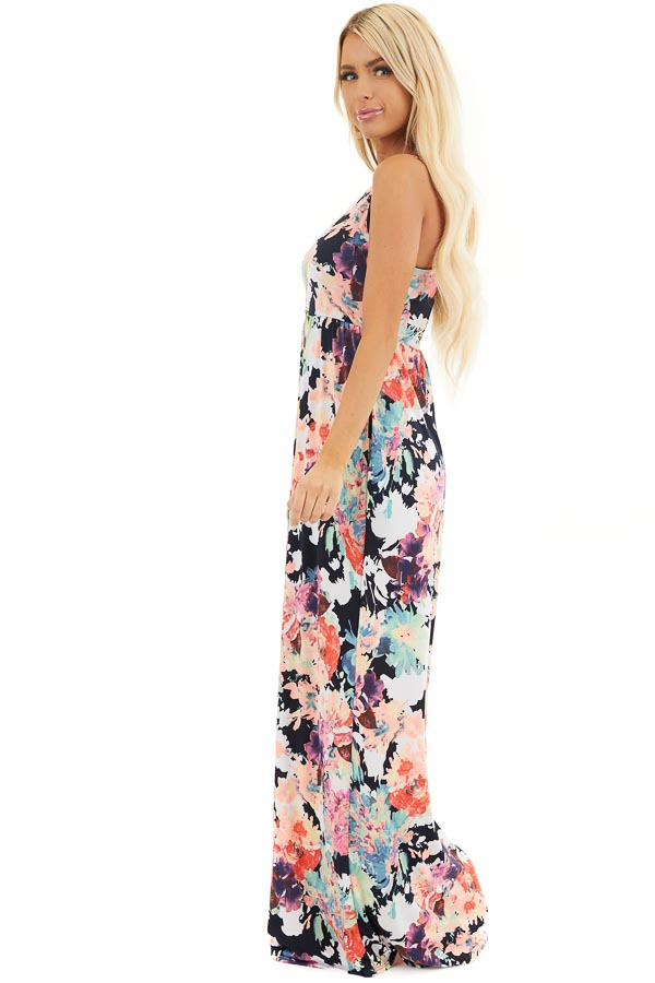 Navy Floral Print Sleeveless Racerback Maxi Dress side full body