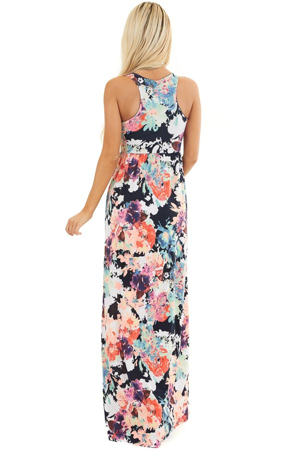 Navy Floral Print Sleeveless Racerback Maxi Dress back full body