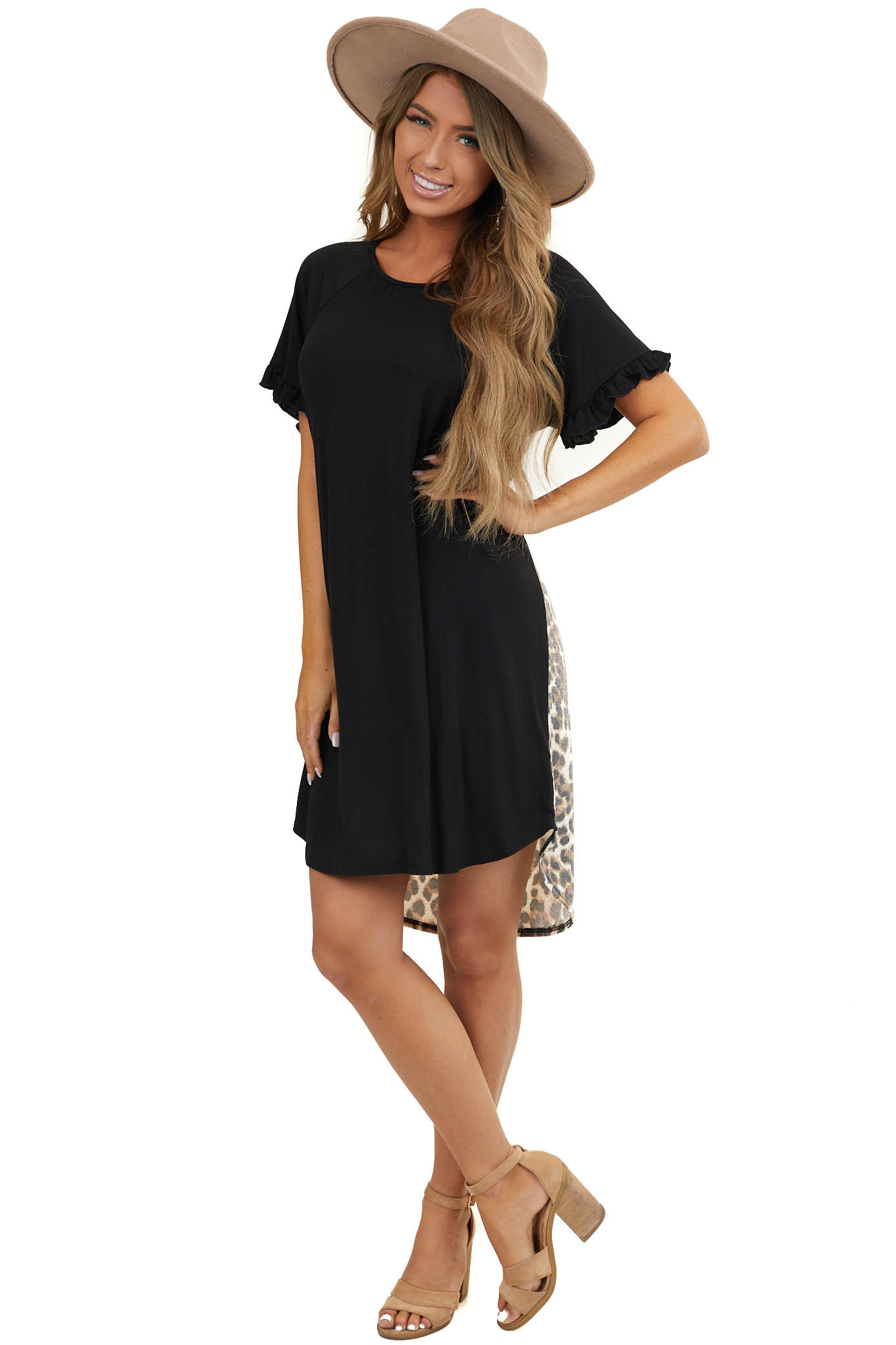 Black Dress with Leopard Print Contrast and Ruffle Sleeves