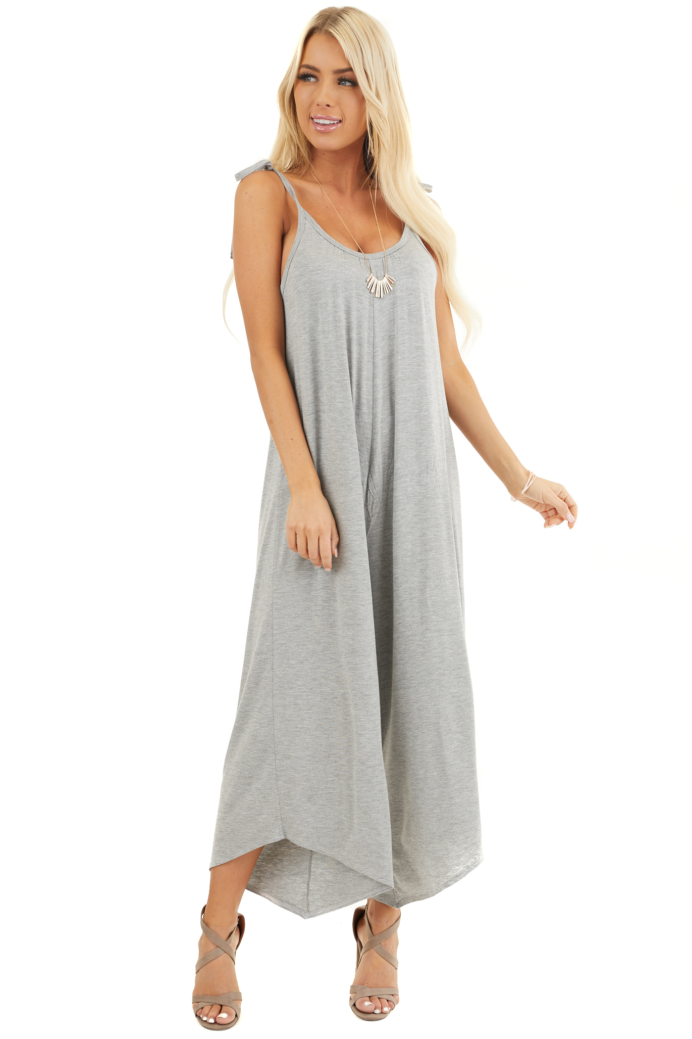 Heather Grey Sleeveless Jumpsuit with Asymmetrical Hems front full body