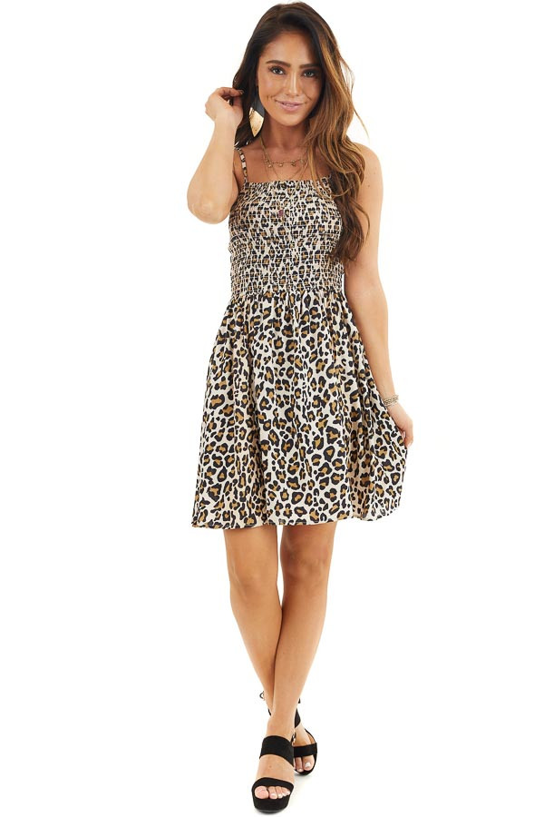 Beige Leopard Print Mini Dress with Spaghetti Straps front full body