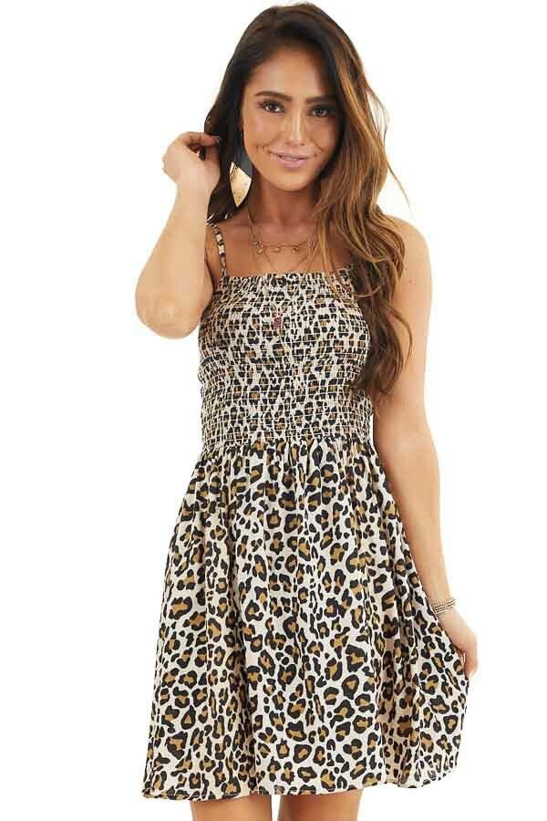Beige Leopard Print Mini Dress with Spaghetti Straps front close up