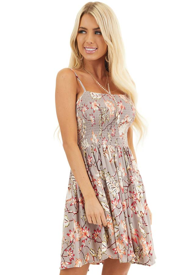 Taupe Floral Print Mini Dress with Spaghetti Straps front close up