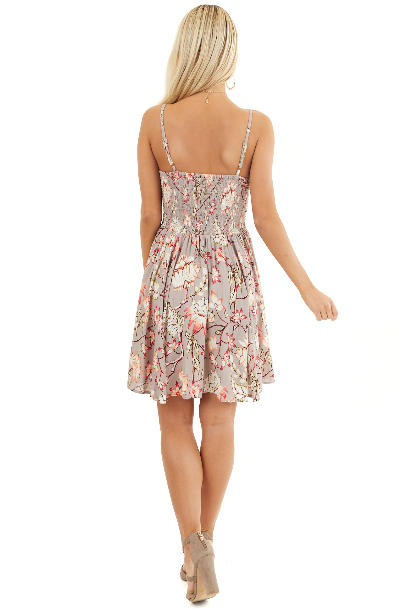 Taupe Floral Print Mini Dress with Spaghetti Straps back full body