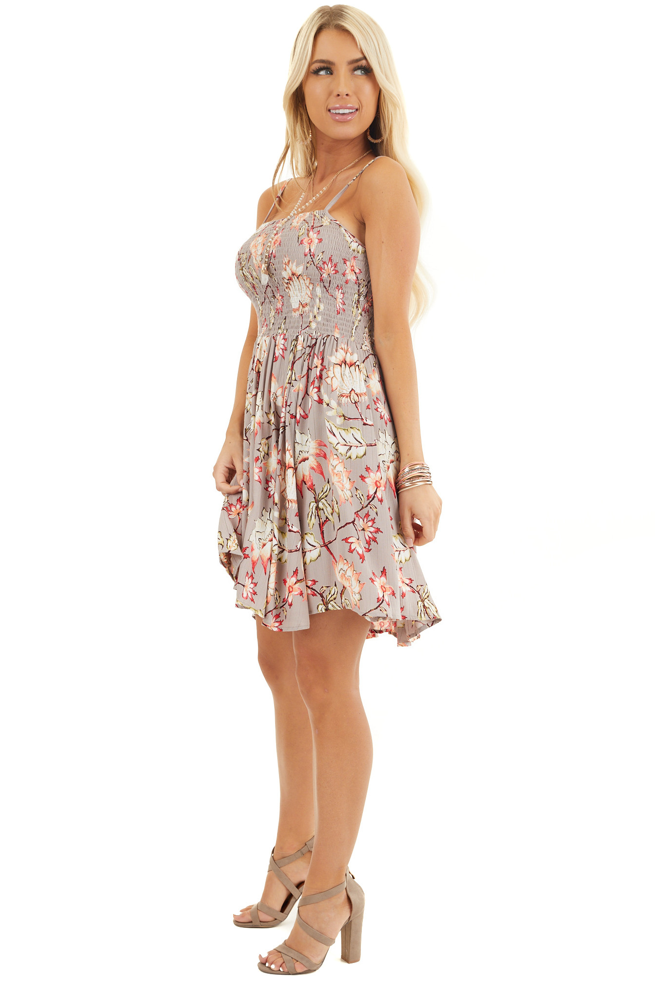 Taupe Floral Print Mini Dress with Spaghetti Straps side full body
