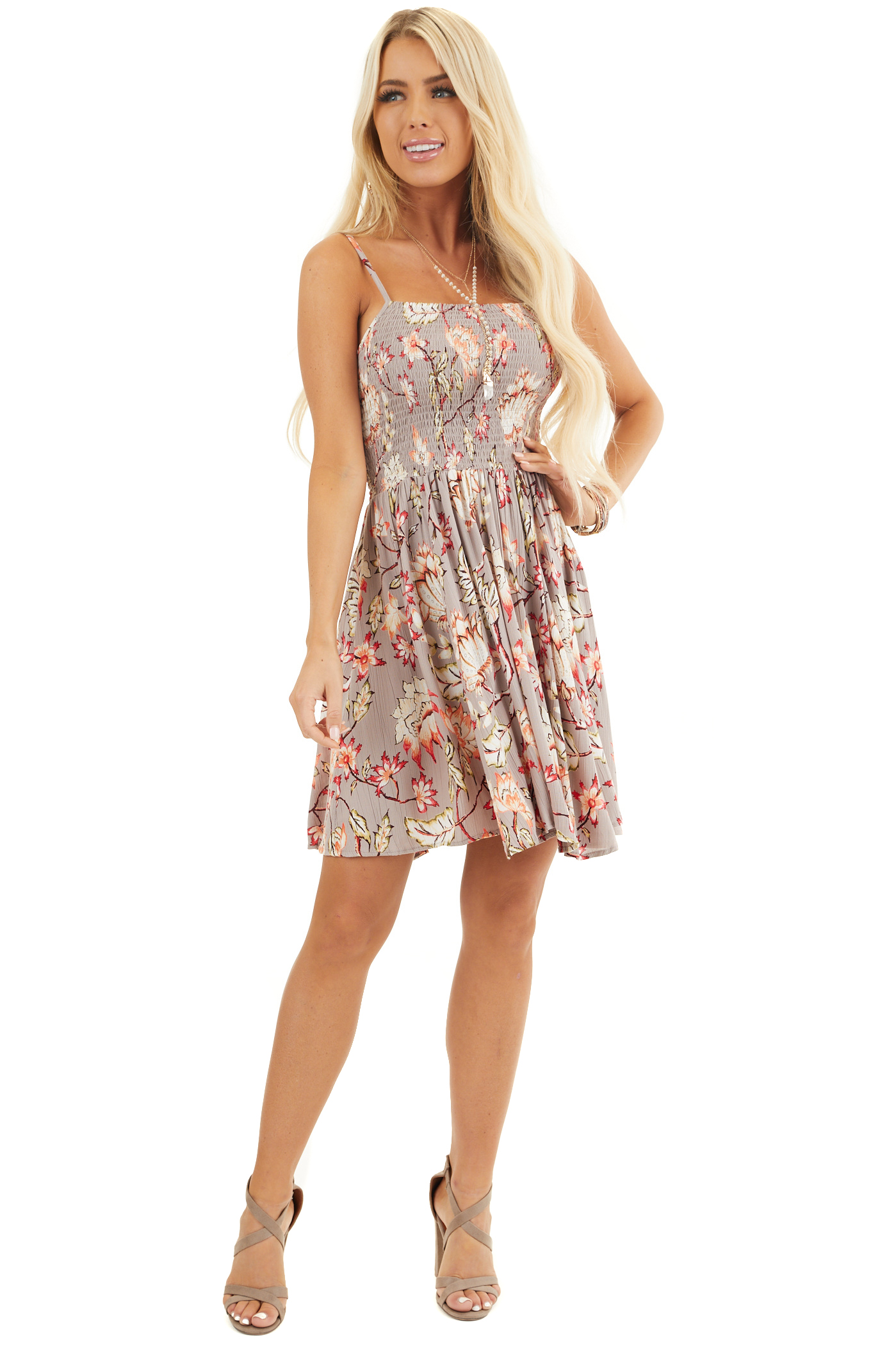 Taupe Floral Print Mini Dress with Spaghetti Straps front full body