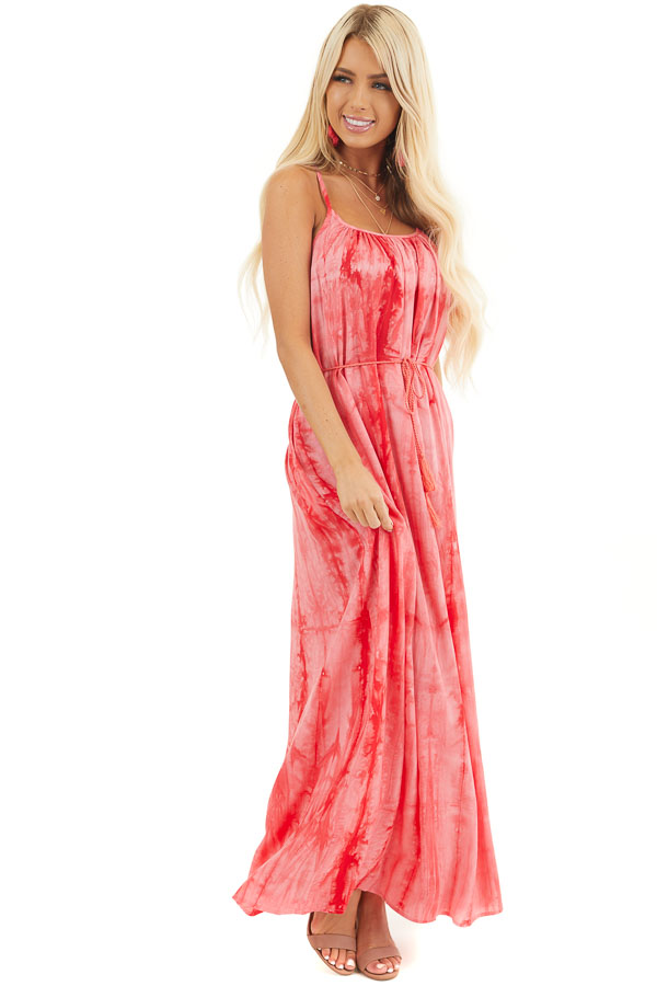Bright Pink Tie Dye Cami Maxi Dress with Waist Tassel Ties front full body