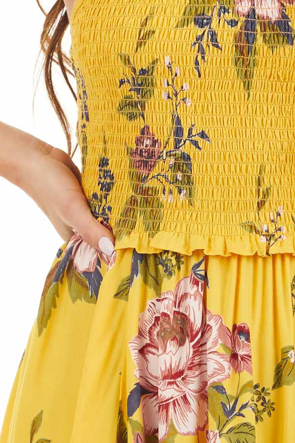 Amber Floral Print Maxi Dress with Spaghetti Straps detail
