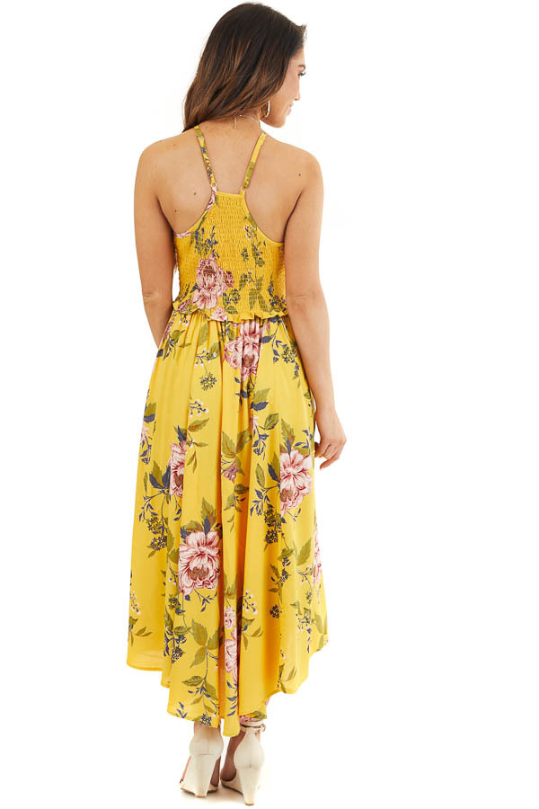 Amber Floral Print Maxi Dress with Spaghetti Straps back full body